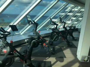 Peloton bikes in the fitness center of the Celebrity Edge cruise ship