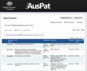 Screenshot of Peloton patents that have been filed with the Australian Government.