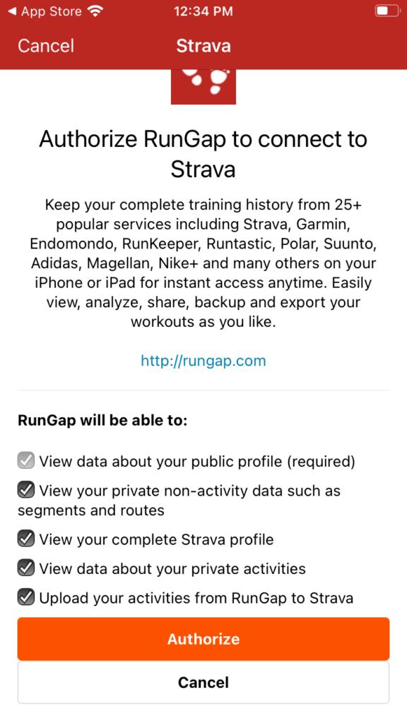 Screenshot of Strava authorization popup.