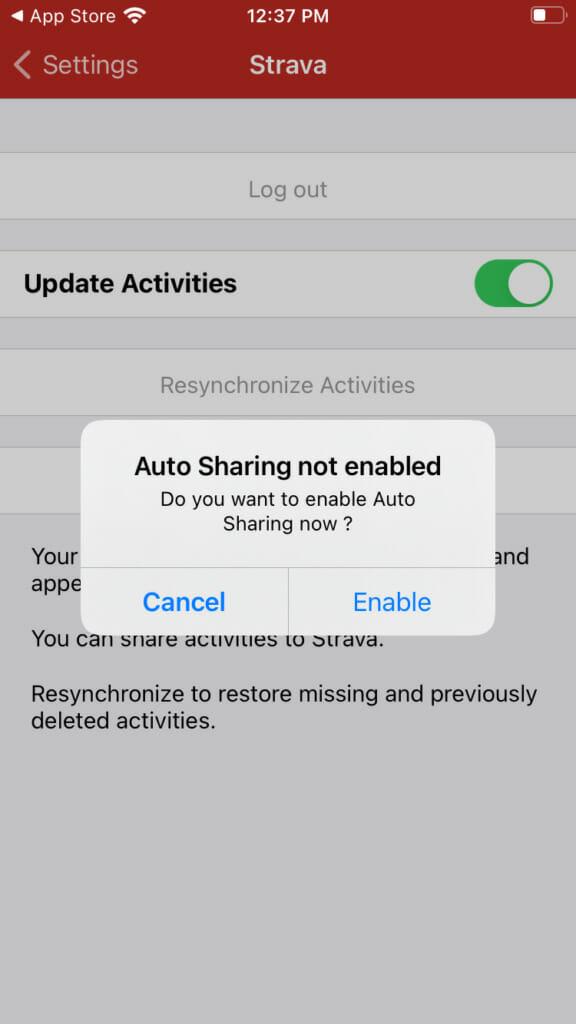Screenshot of Auto Sharing popup
