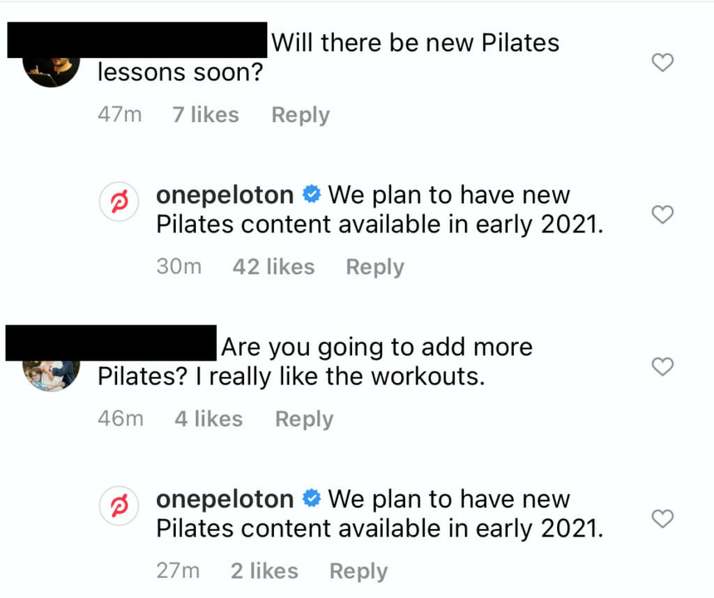 Screenshot of a Peloton Instagram post.