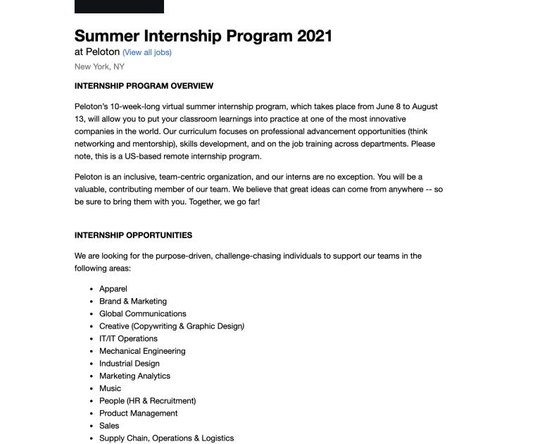 Screenshot of Job listing for Peloton summer internship program.