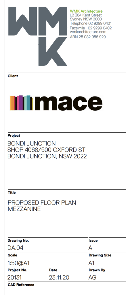 Screenshot of the client info for the Bondi location