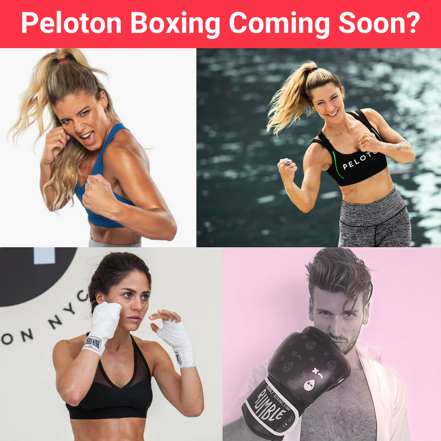 Image of Peloton instructors in boxing poses.