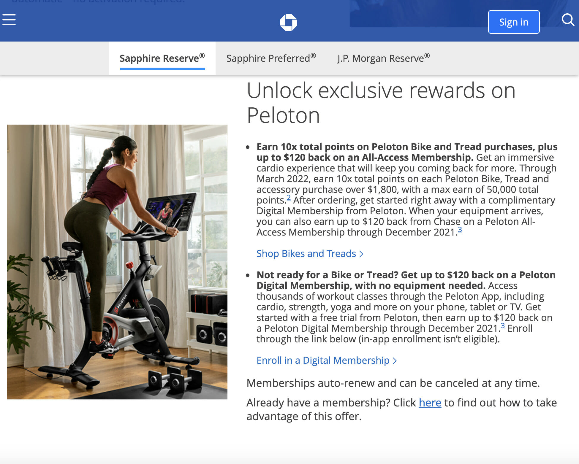 Peloton & Chase have announced the Chase Sapphire Point Accelerator Program with bonus points for Chase cardholders who purchase Peloton hardware.
