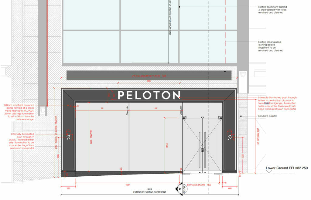 Screenshot of Peloton signage from building permit.