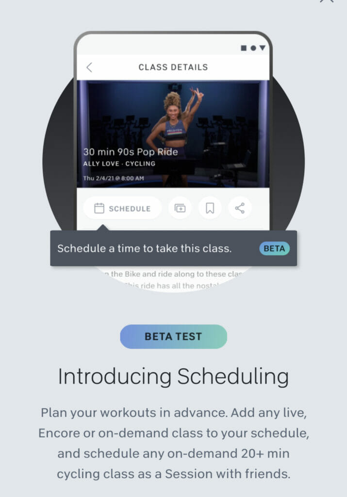 Android popup notifying users of the new scheduling feature.