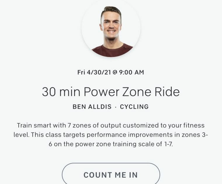 Screenshot of Peloton Class schedule showing a Ben Alldis power zone class.