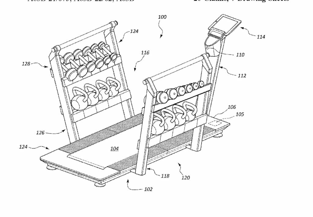 Image of Icon patent they are alleging Peloton is infringing on.