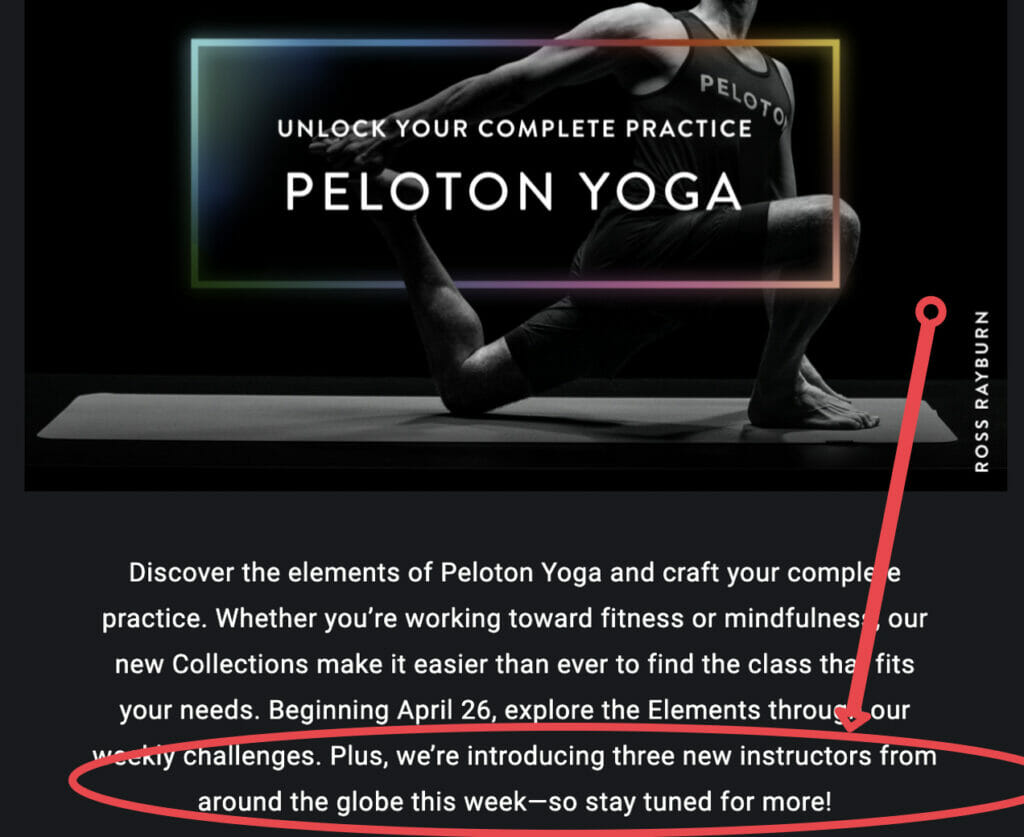 Screenshot of Peloton Email teasing new instructors being announced.