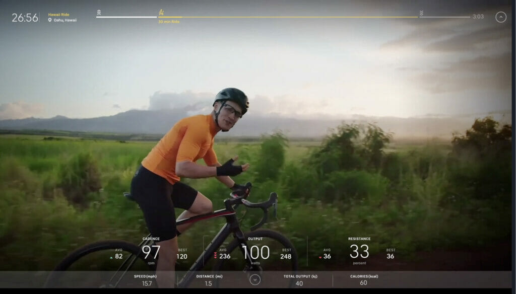 Screenshot of a new Peloton Guided Scenic ride led by Matt Wilpers in Hawaii.