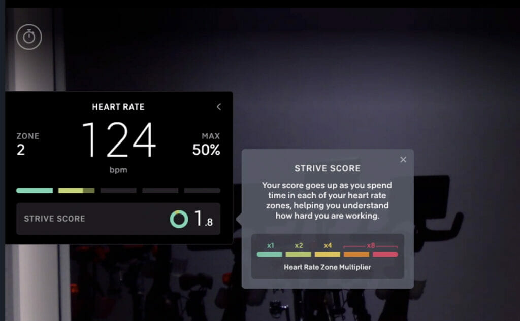 Image of the new Strive Score on a Peloton Bike or Tread.