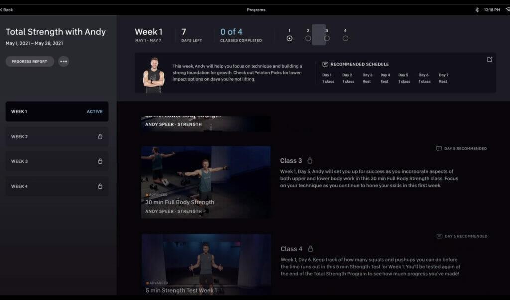 Screenshot of Peloton Program in progress.