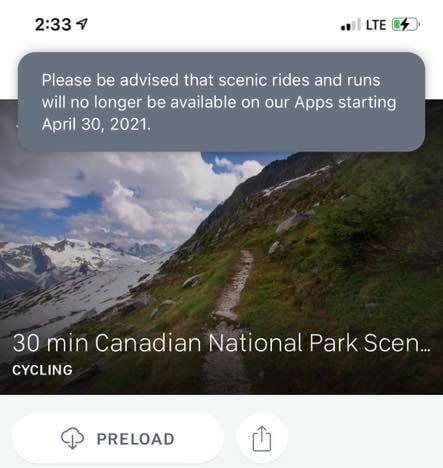 Screenshot of Peloton app message