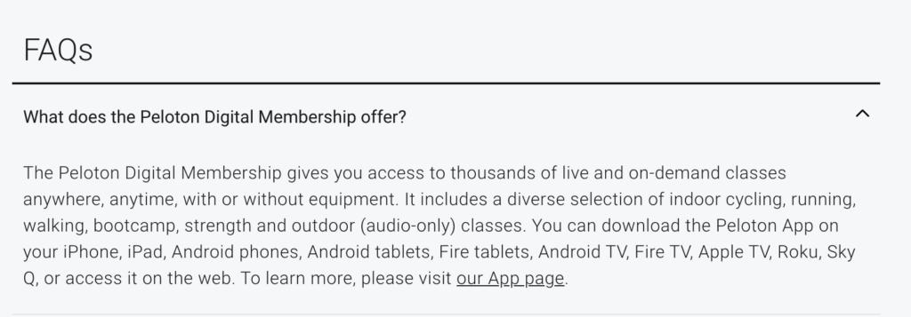 Screenshot of the FAQ on Peloton's site mentioning Sky Q