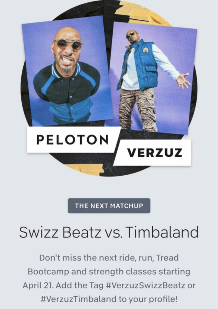 Peloton teased the Timbaland vs Swizz Beatz Verzuz with this popup from the Peloton app (screenshot from Peloton app)