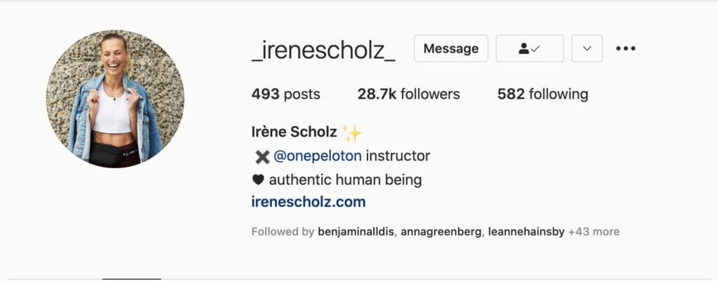Screenshot of Irene's profile seeming to imply she is no longer with Peloton.