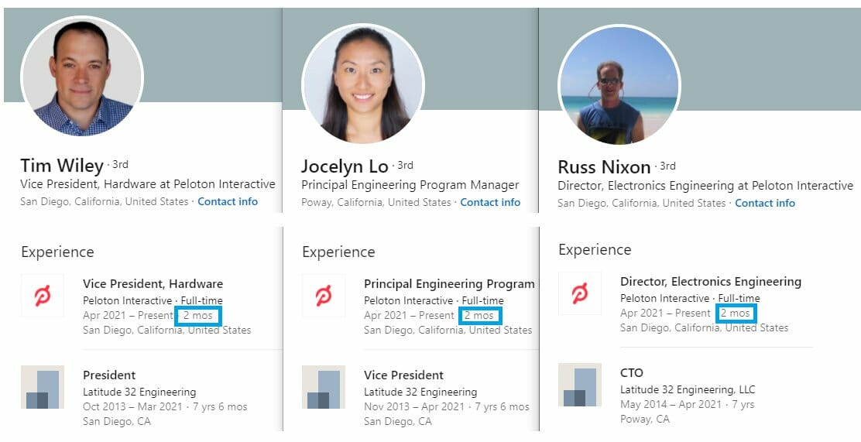 LinkedIn profiles of former LATITUDE 32 leadership now indicates working at Peloton.