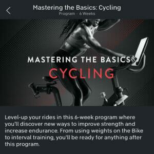 Image credit Peloton app of Mastering the Basics Cycling program.