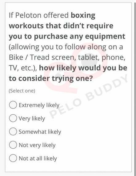 Peloton Survey asking about Peloton Boxing Classes