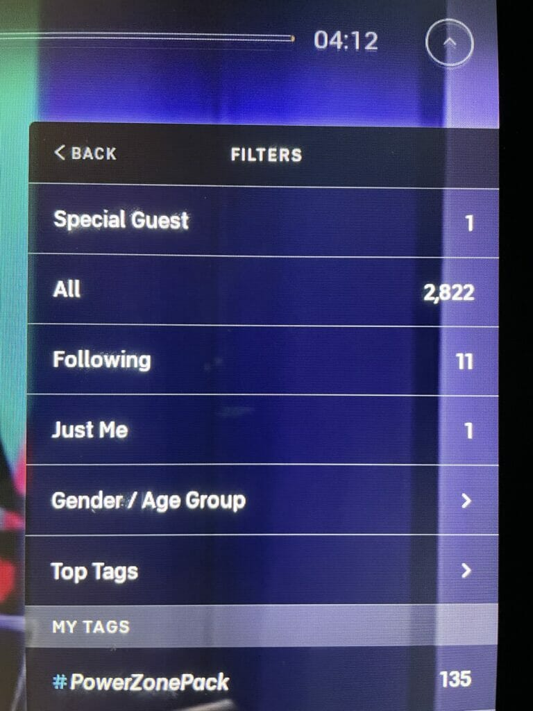 """Screenshot of the new """"Special Guest"""" filter on Peloton."""