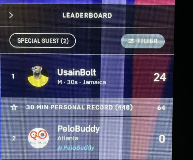 Screenshot of Usain Bolt as a special guest today.