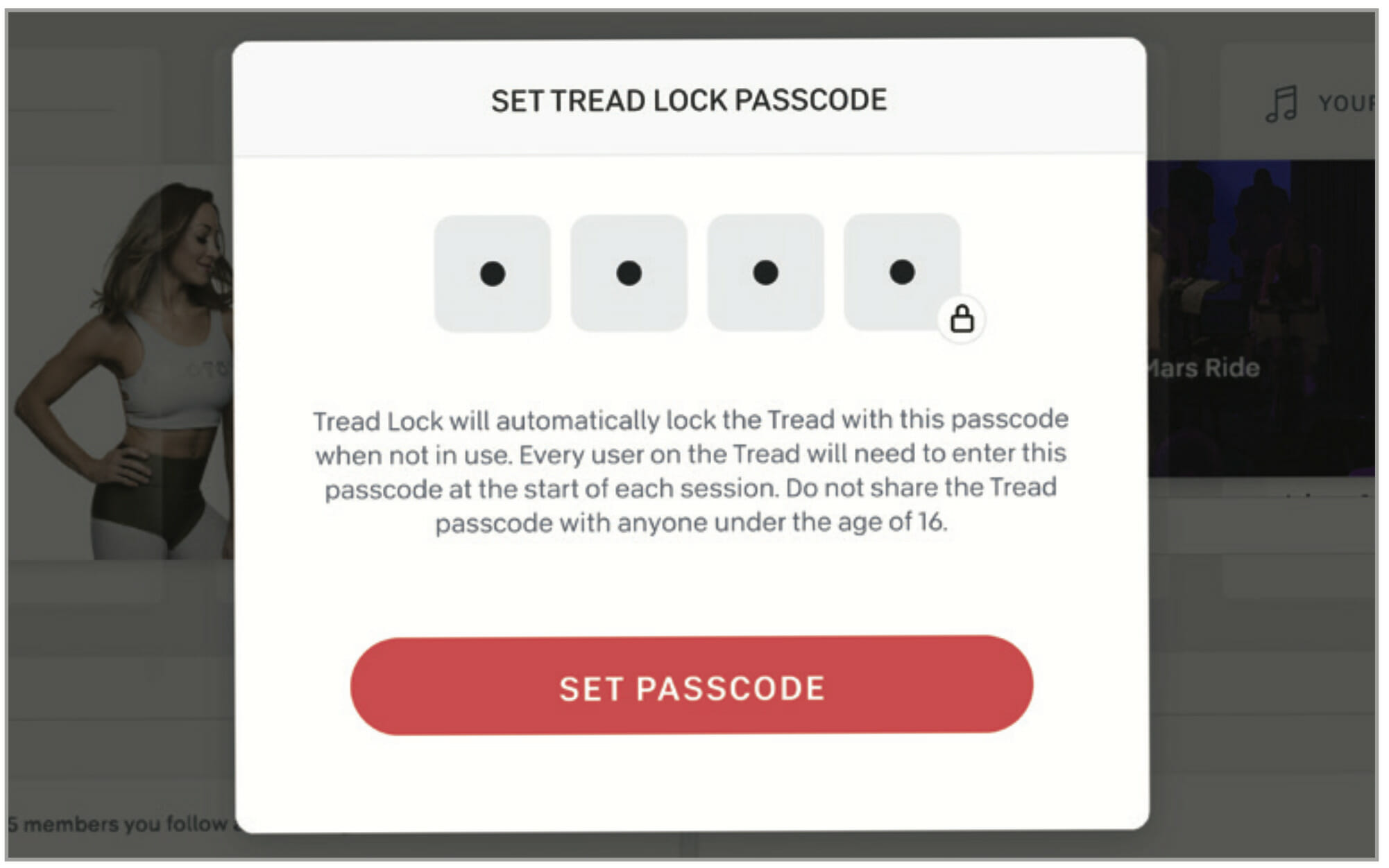 Image of the new Peloton Tread Lock safety passcode feature.