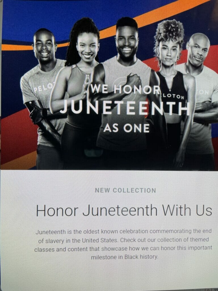 Peloton will have a special collection and classes will be cancelled on Saturday, June 19 in celebration of Juneteenth.