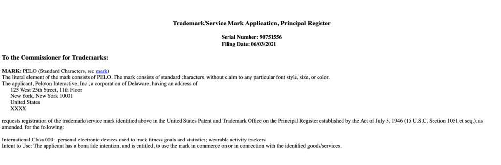Screenshot of the Peloton trademark application for fitness tracker or wearable device.