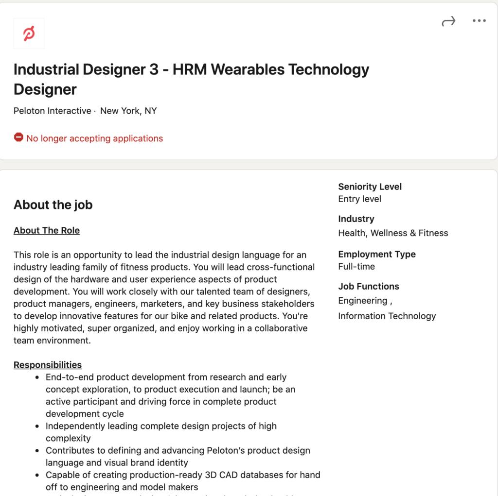 Screenshot of a Peloton HRM job posting.