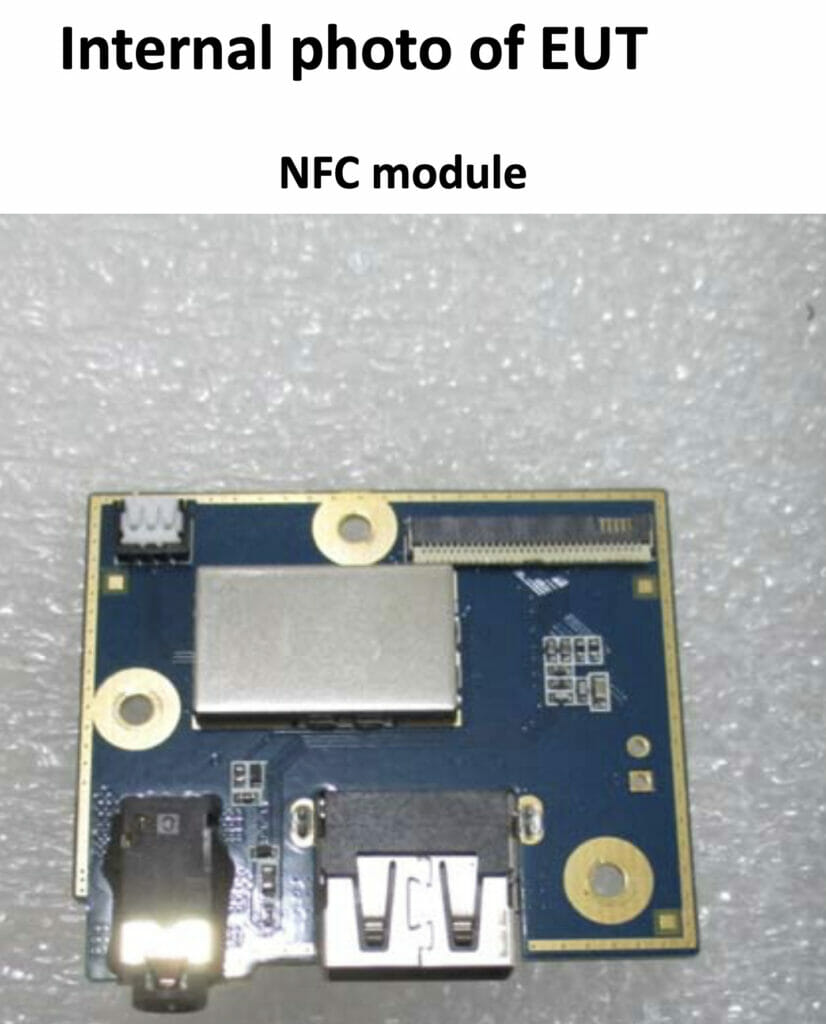 NFC Module shown in FCC images for the generation 1 Peloton Tread+ tablet.