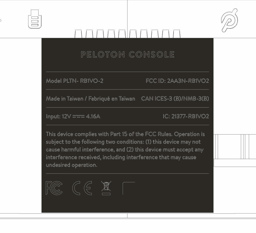 Label for potential new Peloton Bike Tablet 2AA3N-RB1VO2 / PLTN-RB1VO-2 as seen in FCC Filing.