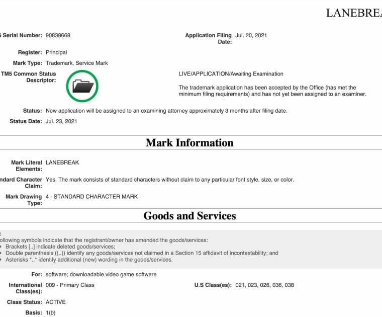 Peloton Lanebreak Trademark Application with the USPTO.