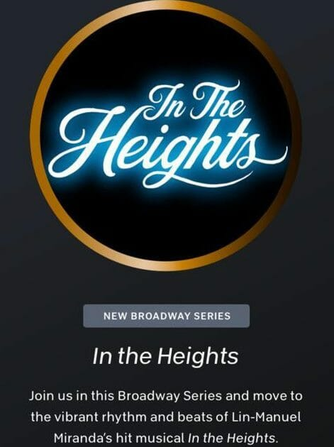 Image Credit Peloton App popup for In The Heights Series.