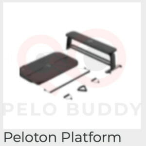 Image of the Peloton Platform strength device. Shown with different attachments, and a weight bench.