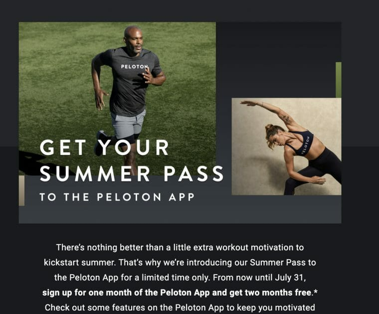 Peloton is offering a summer discount on the Peloton app.