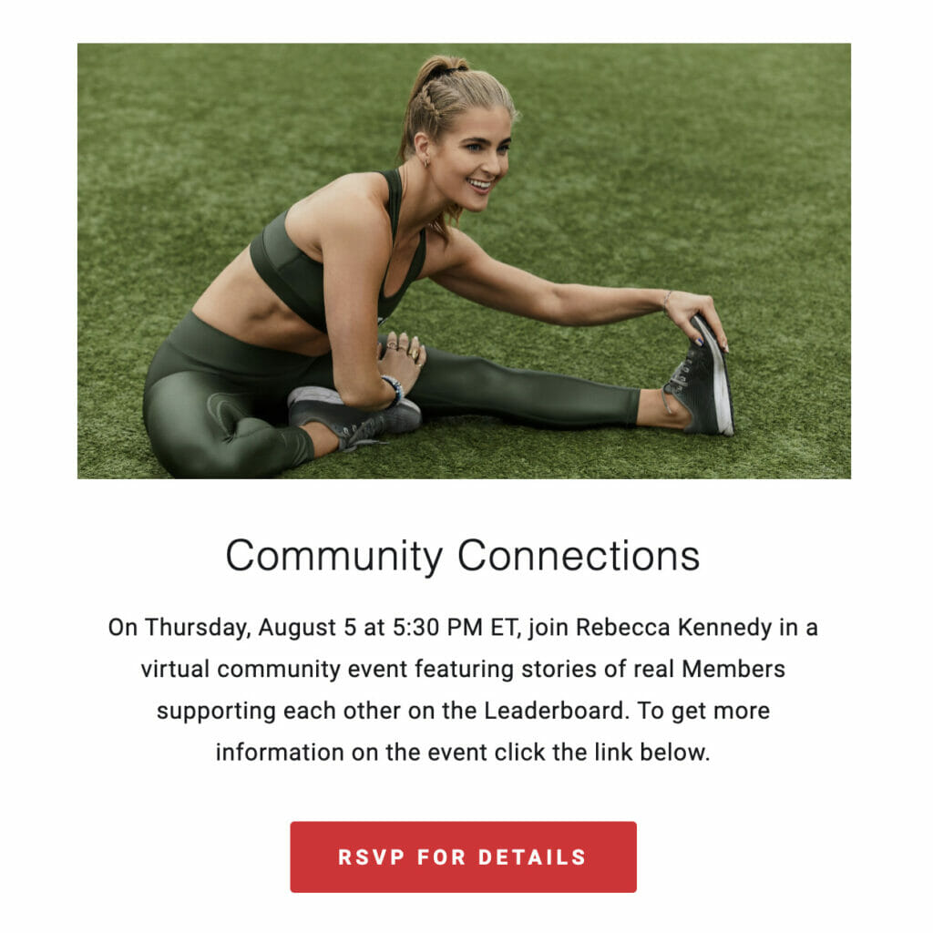 Invite email sent from Peloton about the event.