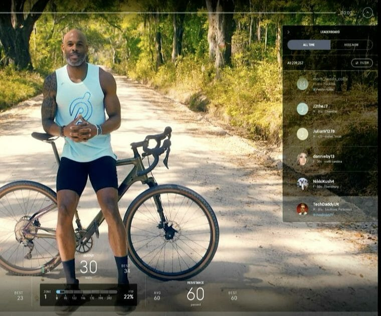 Image of the Peloton Leaderboard on one of the new guided scenic classes.