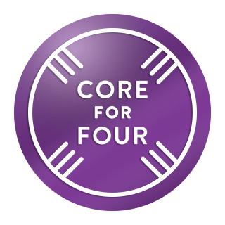 Image of the badge for the Peloton Core For Four Challenge.