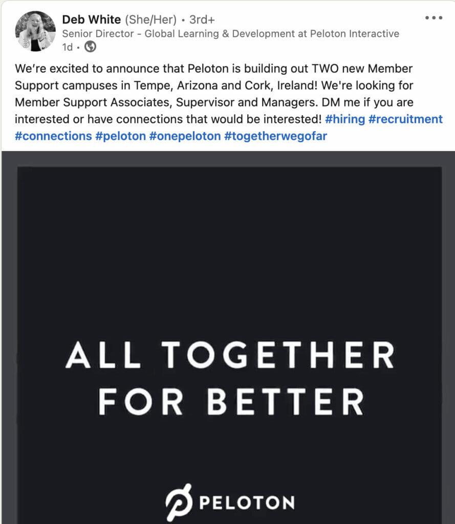 Linkedin post confirming member support center in Cork, Ireland.