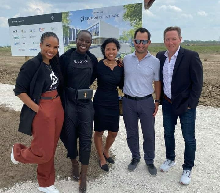 Some of the Peloton team at the ground breaking ceremony.