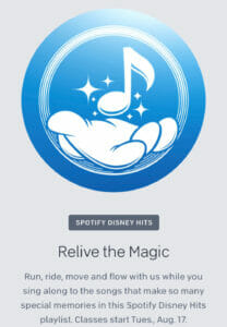 Peloton x Disney classes (Spotify Disney Hits).