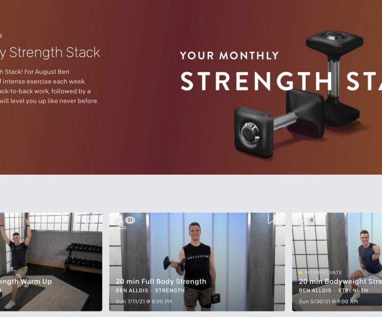 Image of the August strength stack collection with Ben Alldis from Peloton's website.