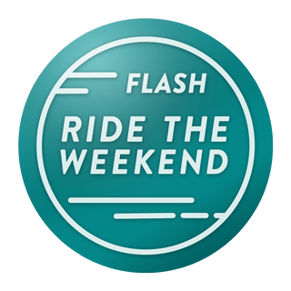 Image of the Ride the Weekend Flash Challenge badge.