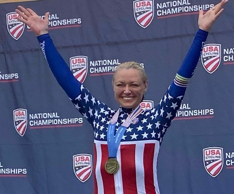 Peloton instructor Christine D'Ercole winning gold at the Track National Championships. Image credit Christine Instagram.