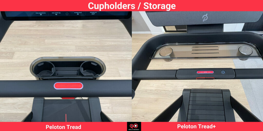The Peloton Tread+ has a small shelf for holding items.  Both the Tread & Tread+ can hold 2 water bottles.