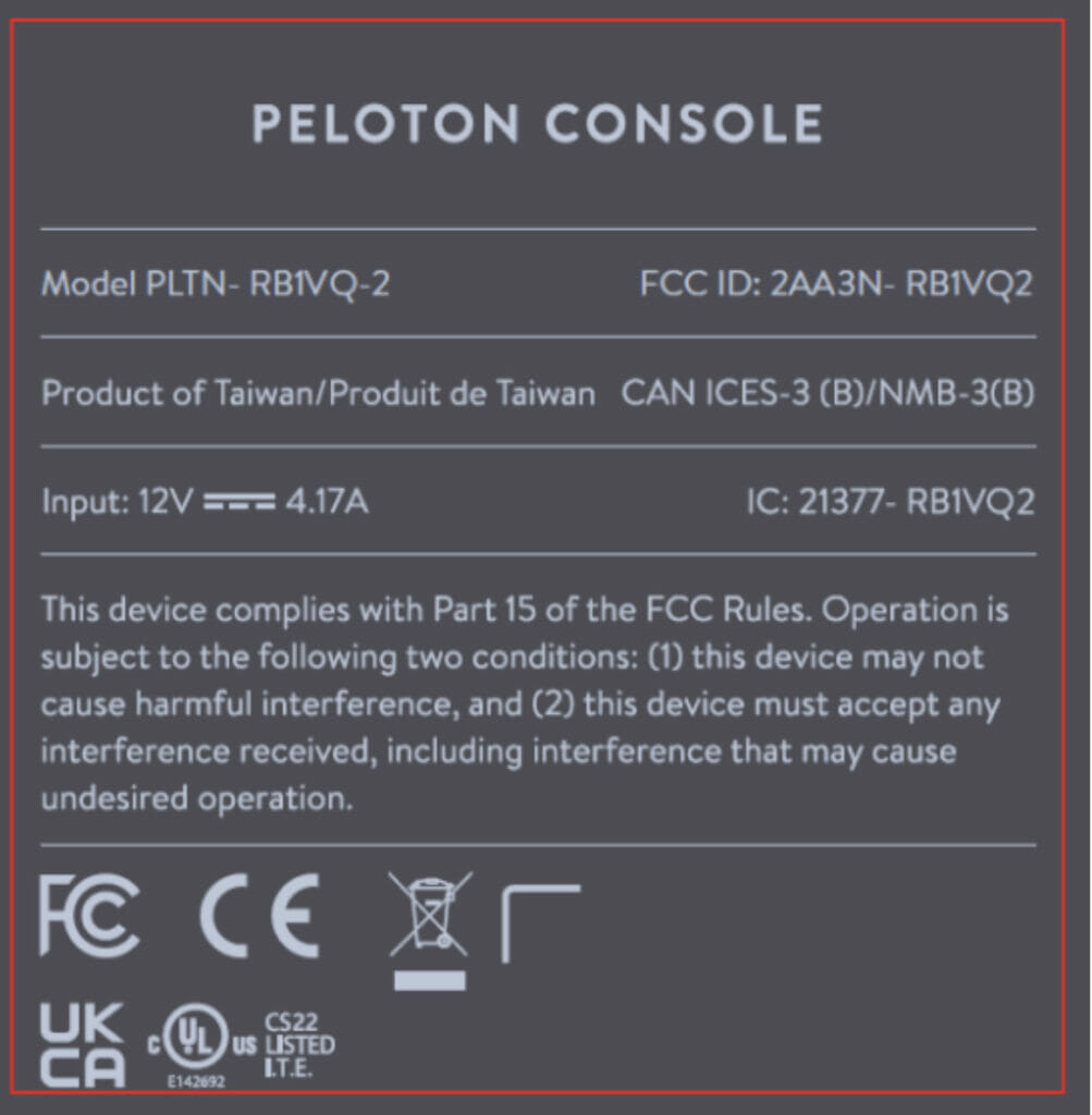 Label provided to the FCC for the new Peloton tablet.