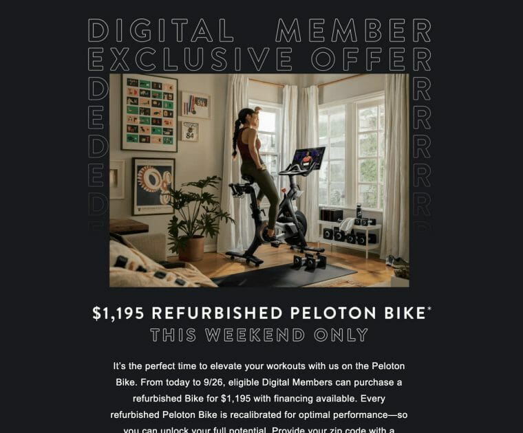 Image of the email Peloton sent some digital members offering a refurbished bike.