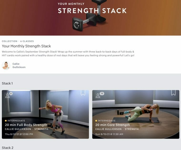 Screenshot of September Strength Stack Collection by Callie Gullickson from Peloton app.