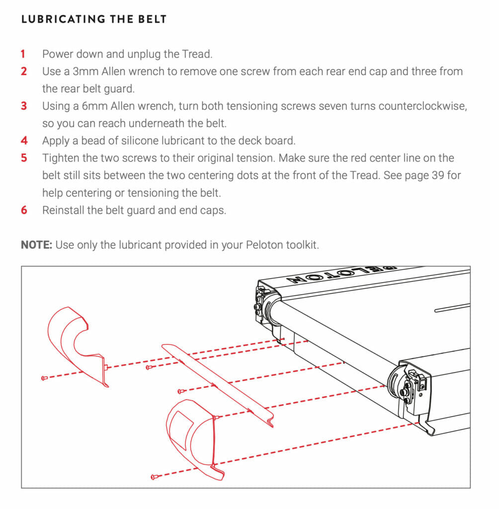 Peloton Tread manual showing how to lubricate the belt.